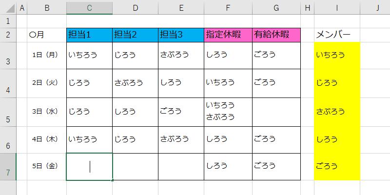 作成 エクセル シフト